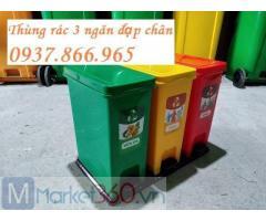 Mua thùng rác 3 ngăn đặt trong công viên, sản xuất thùng rác 3 ngăn tại hà nội, thùng rác tại siêu thị