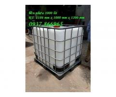 Bồn nhựa đựng nước màu trắng 1 khối, tank nhựa cũ IBC, bán tank nhựa nuôi ca koi,