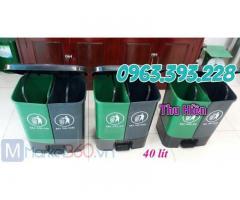 Thùng rác nhựa đạp chân 2 ngăn, Thùng rác 40 lít, thùng rác nhựa công nghiệp giá rẻ