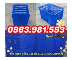 Sọt nhựa rỗng đáy đặc HS012, thùng nhựa hở