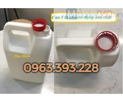 Can nhựa 5 lít trắng, can đựng hóa chất, can nhựa HDPE, can nhựa cao cấp