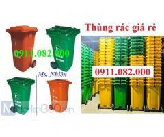Thùng rác 120 lít 240 lít màu vàng giá rẻ tại sóc trăng- giảm giá thùng rác mùa dịch-