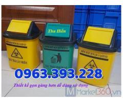 Thùng rác y tế nắp lật, xô đựng rác thải y tế 5 lít, thùng rác y tế trên xe tiêm, thùng rác bệnh viện