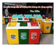 Thùng rác 3 ngăn có mái, thùng phân loại rác 3 ngăn, thùng rác nhựa composite