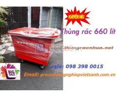 Thùng rác nhựa 660 lít composite 4 bánh xe