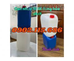 Can nhựa 10 lít, can nhựa đựng hóa chất, can nhựa 10 lít trắng, can nhựa 10 lít xanh