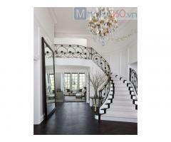 Cầu thang sắt uốn nghệ thuật, sơn tĩnh điện sang trọng, đẳng cấp cho nhà cổ điển