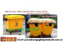 Thùng rác 660 lít Màu Vàng