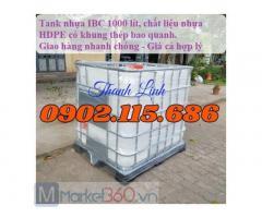 Tank nhựa đựng hóa chất, tank nhựa 1000 lít, bồn nhựa IBC trắng 1000 lít, tank nhựa IBC mới, tank nhựa, bồn nhựa trắng 1000 lít.