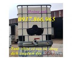 Bán tank nhựa 1000l, Tank nhựa 1000l có khung thép bao quanh, tank nhựa