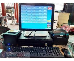Máy tính tiền cảm ứng trọn bộ 2 màn hình cho Quán Trà sữa tại Lào Cai