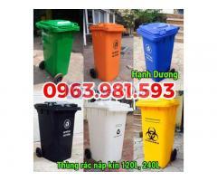 Thùng rác 120L, 240L, thùng rác nhựa HDPE nắp kín