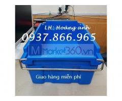 Thùng nhựa dùng trong nhà máy có quai sắt, thùng nhựa đặc A2,m khay nhựa đựng đồ kim khí