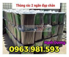 Thùng rác 2 ngăn HDPE, thùng rác đạp chân 2 ngăn