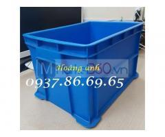 Thùng nhựa dùng trong ngành công nghiệp nặng, sóng nhựa cơ khí, thùng nhựa to màu xanh
