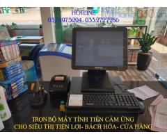 Máy tính tiền cảm ứng bằng mã vạch cho Siêu thị mini tại Bình Phước