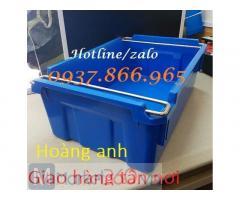 Thùng nhựa nguyên sinh có quai sắt, thùng nhựa A2, hộp nhựa cơ khí(khay nhự công nghiệp)