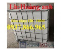 Tank nhựa IBC 1000l tại hà nội, bồn nhựa 1 khối, bồn nhựa có khung thép bao quanh,tank nhua