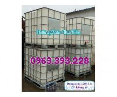 Tank nhựa IBC 1000 lít, tank nhựa có khung thép, tank đựng hóa chất