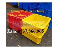 Khay nhựa đặc xếp chồng, thùng nhựa bít, khay nhựa đựng cờ-lê, khay nhựa công nghiệp