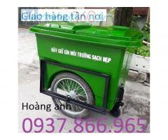 Xe thu gom rác có bánh xe, thùng rác 660l, bán thùng rác giá rẻ tại hà nội