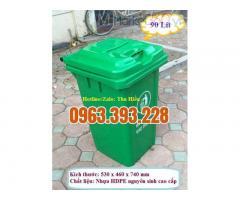 Thùng rác công cộng 90 lít nắp kín, thùng rác công nghiệp