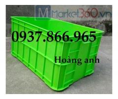 Sọt nhựa bít, thùng nhựa cao 39cm, thùng nhựa cơ khí, thùng nhựa đặc có nắp, thung nhưa dac