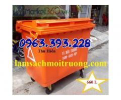Xe gom rác nhựa 660 lít, thùng rác công cộng 4 bánh xe, xe chứa rác có nắp