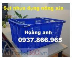Sọt nhựa đựng nông sản có quai xách, sóng nhựa rỗng, sọt nhựa dùng trong siêu thị, Sọt nhựa HS011
