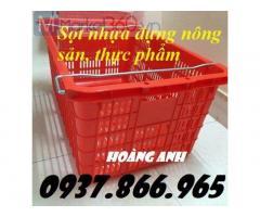 Sọt nhựa PP có quai xách, sọt nhựa dùng đựng hàng nông sản, giá sọt nhựa, sóng nhựa rỗng HS 011
