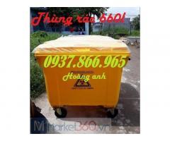 Thùng rác 660l có bánh xe, xe thu gom rác thải, thùng rác gom rác công cộng