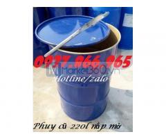 Thùng phuy kín, phuy sắt 220l nắp mở hoàn toàn, giá phuy sắt 220l tại hà nội, phuy sắt cũ