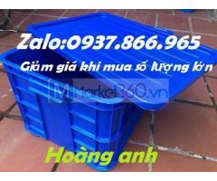 Sọt nhựa dùng đựng hàng hóa sản xuất ,Giá sóng nhựa cao 31cm có nắp đậy, thùng nhựa cơ khí xếp chồng