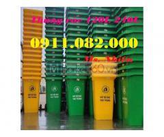Thùng rác 660 lít giá rẻ tại hậu giang- thùng rác 120L 240L xanh, cam, vàng- nắp kín-