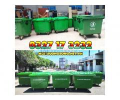 Xe thu gom rác 660l 4 bánh hdpe cho công viên, đường phố, nhà hàng