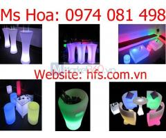 Bàn led ghế led cafe, bàn ghế đèn led nhiều màu