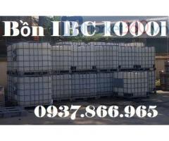 Bồn nhựa đựng nước cho công trình, tank nhựa có khung thép bao quanh, Bồn IBC cũ 1000l